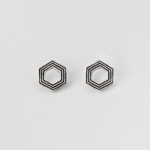 'Lines in Motion' Black Hexagonal Stud Earrings