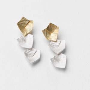 'Lines in Motion' Gold and Silver Triple Drop Earrings