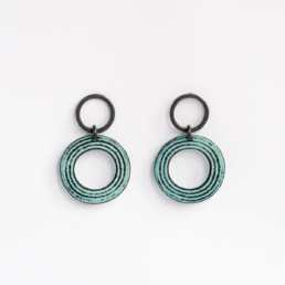 'Lines in Motion' Turquoise Circular Earrings Small