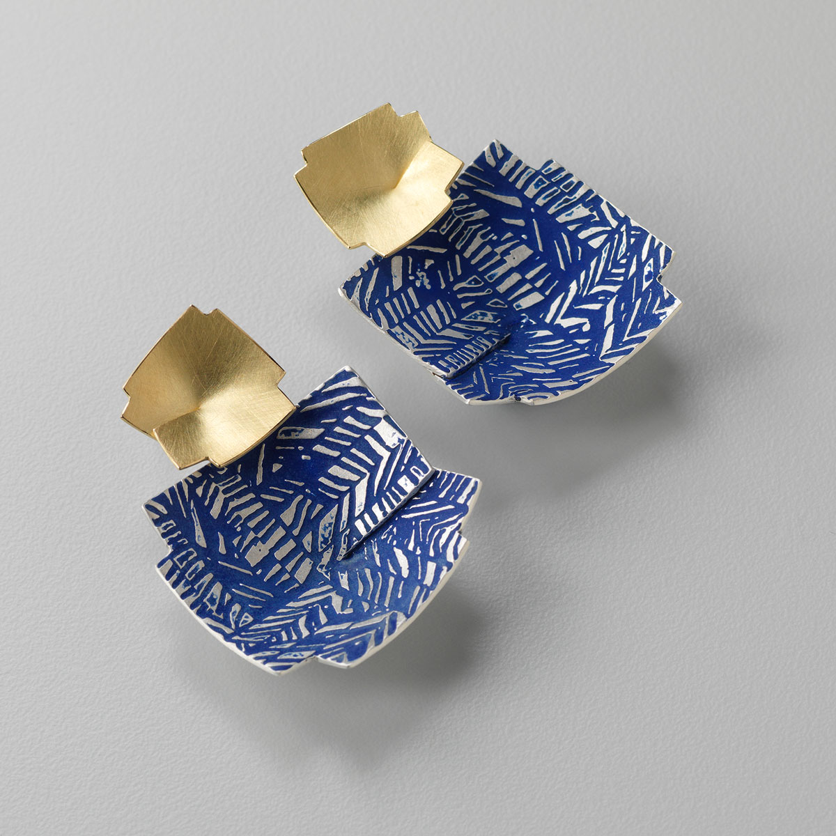 'Weave' Blue and Gold Double Drop Earrings