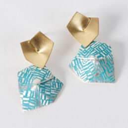 'Weave' Gold and Turquoise Drop Earrings