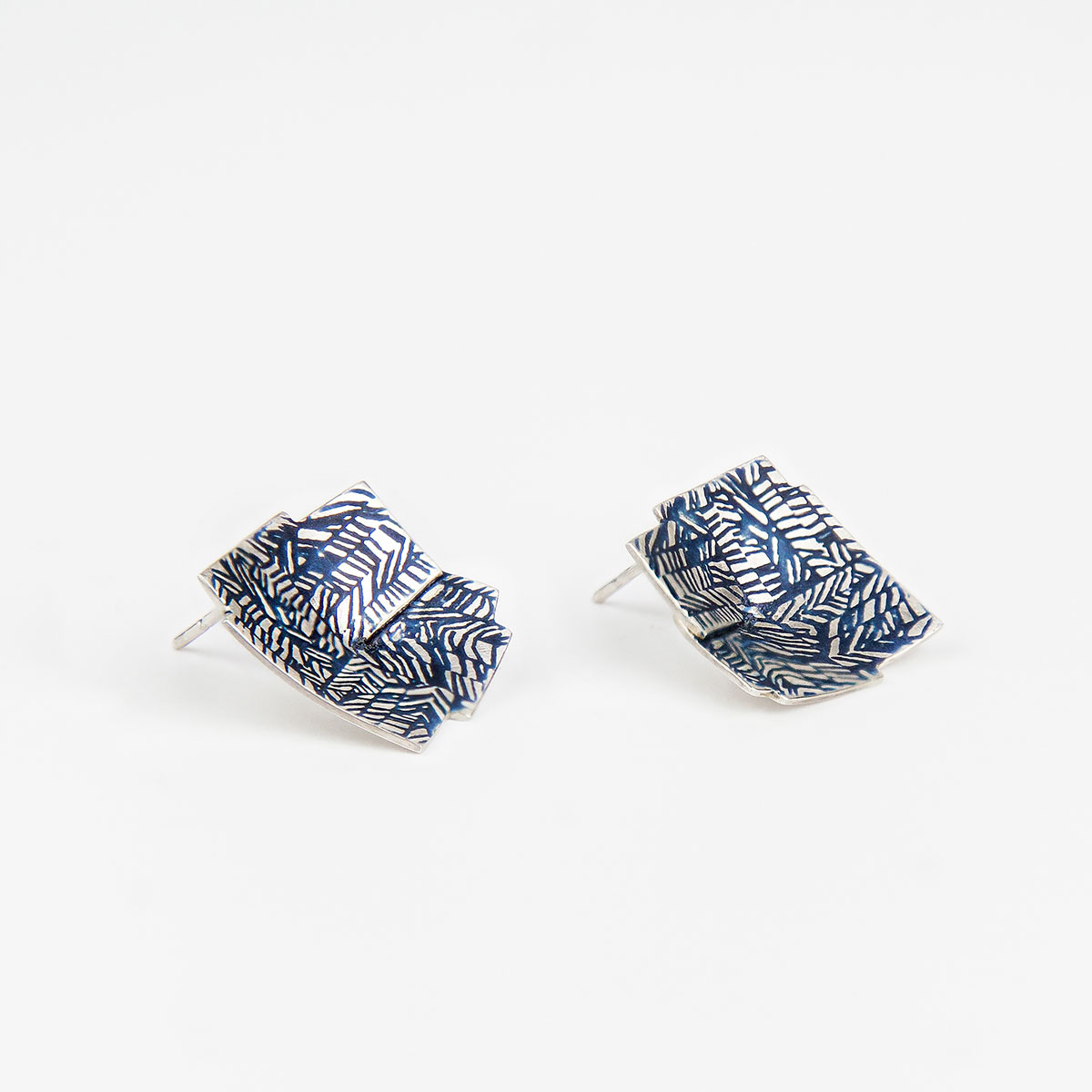 'Weave' Navy Blue Folded Earrings