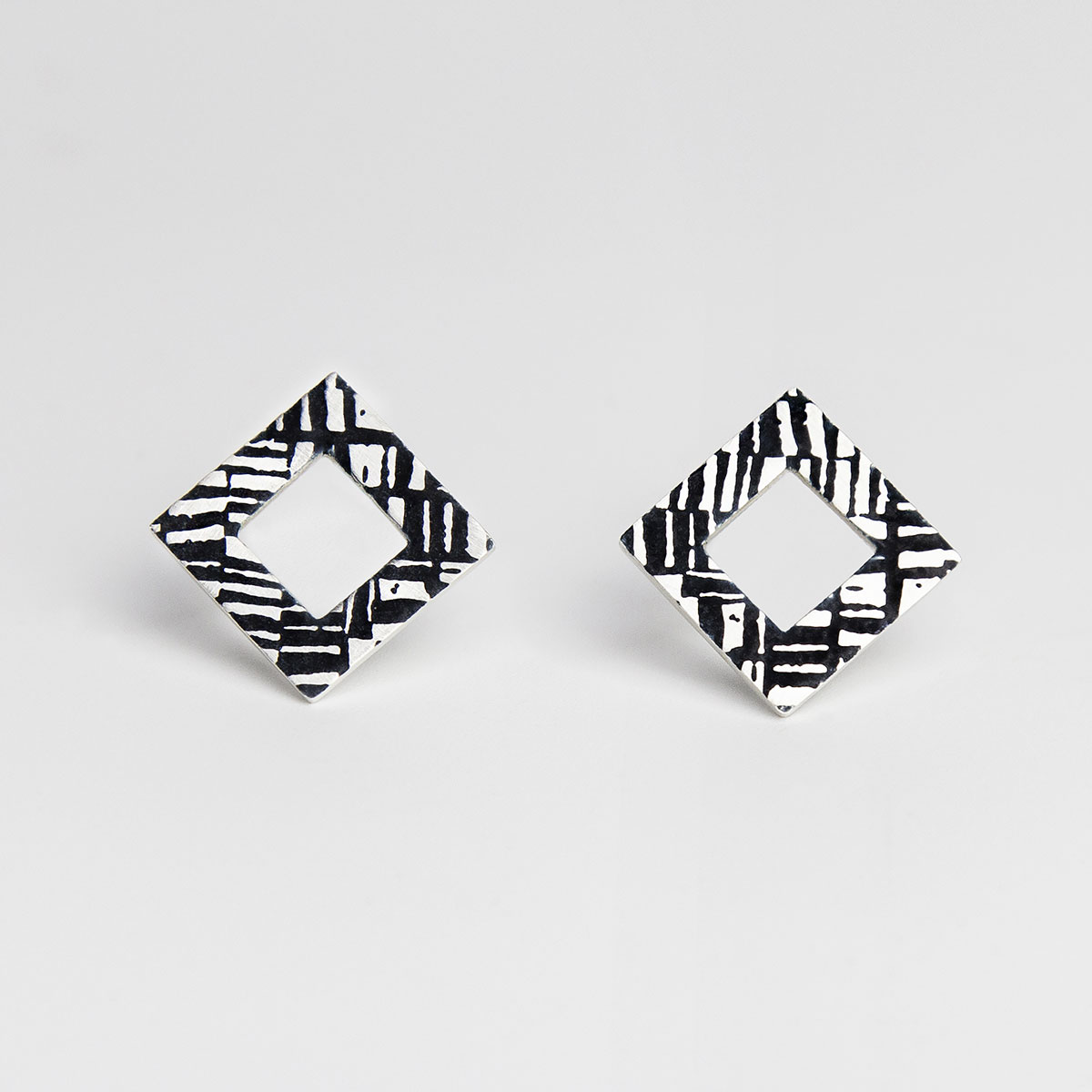 'Weave' Silver and Black Earrings, Large