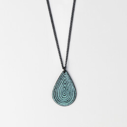 'Lines in Motion' Turquoise Teardrop Pendant
