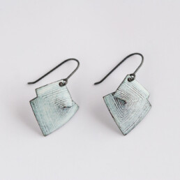 'Lines in Motion' White Hook Earrings