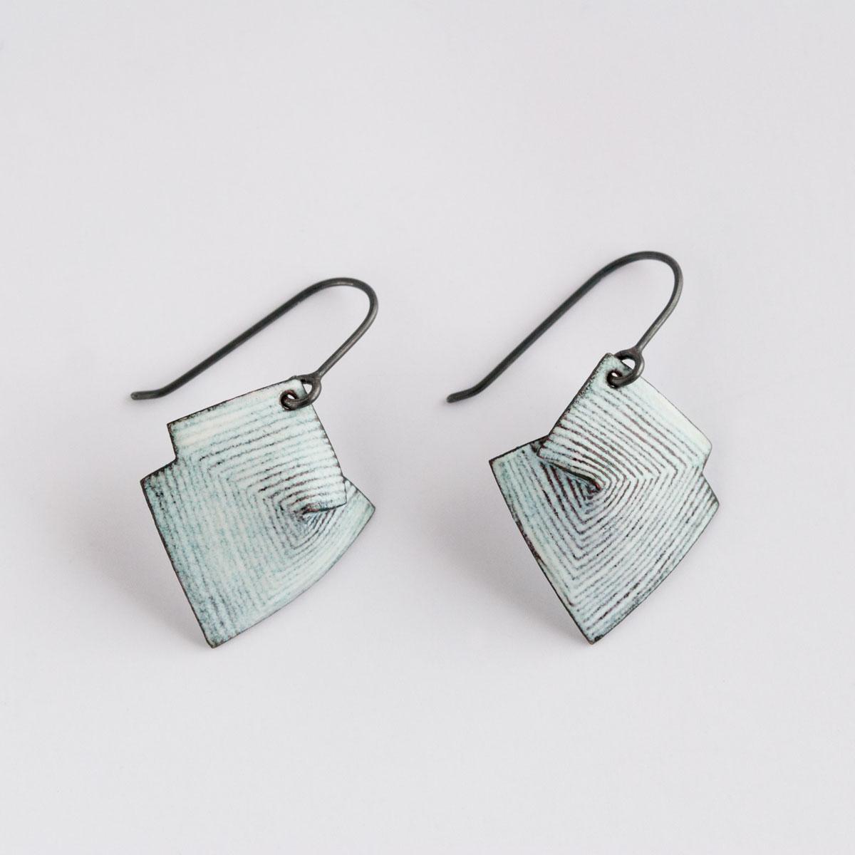 'Lines in Motion' White Hook Earrings