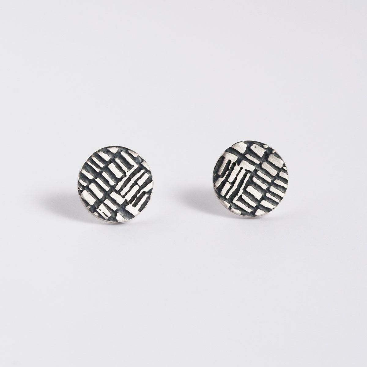 'Weave' Silver and Black Dot Stud Earrings, Medium