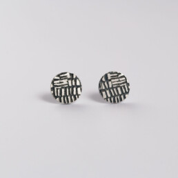 'Weave' Silver and Black Dot Stud Earrings, Small