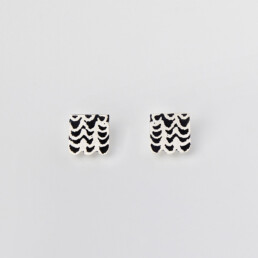 'Weave' Silver and Black Stud Earrings