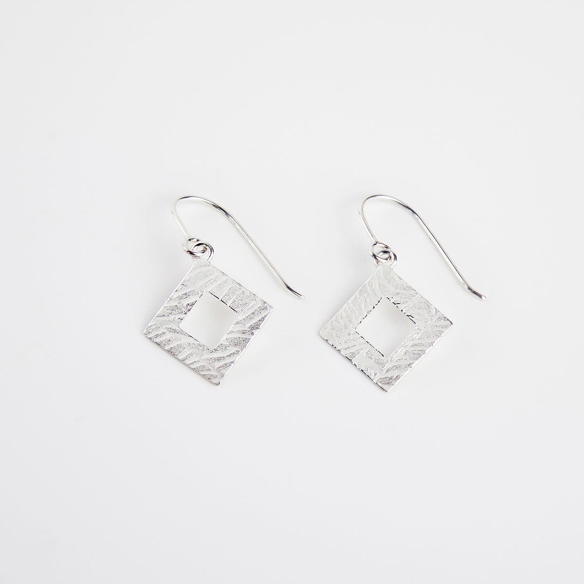 'Weave' Silver Hook Earrings