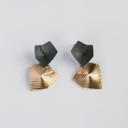 'Lines in Motion' Black and Gold Double Drop Earrings
