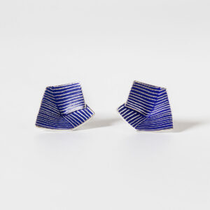 'Lines in Motion' Blue Stud Earrings, Large