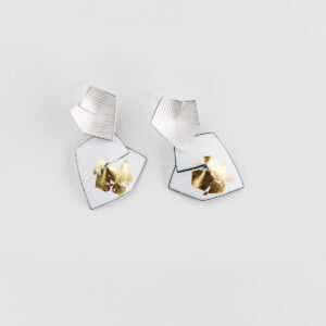 'Currents of Venice' White and Gold Drop Earrings