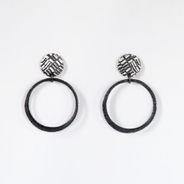 'Weave' Black Loop Earrings, Large