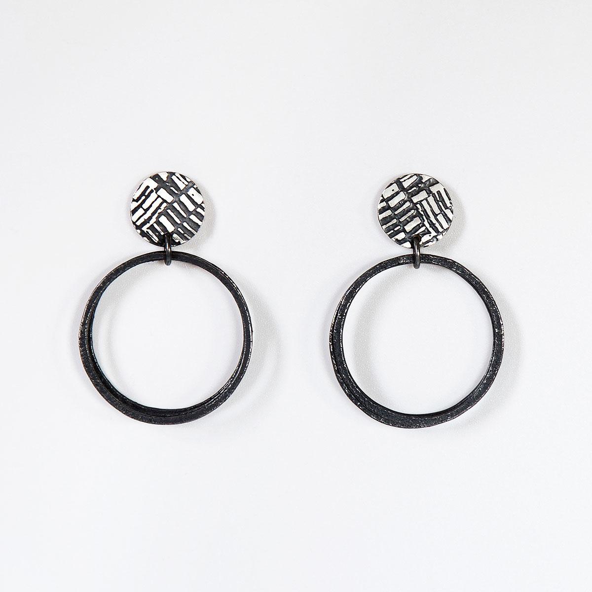'Weave' Black Loop Earrings, Large