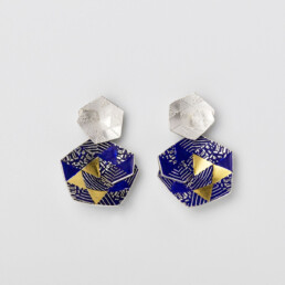 'Weave' Blue and Gold Hexagonal Drop Earrings, Large