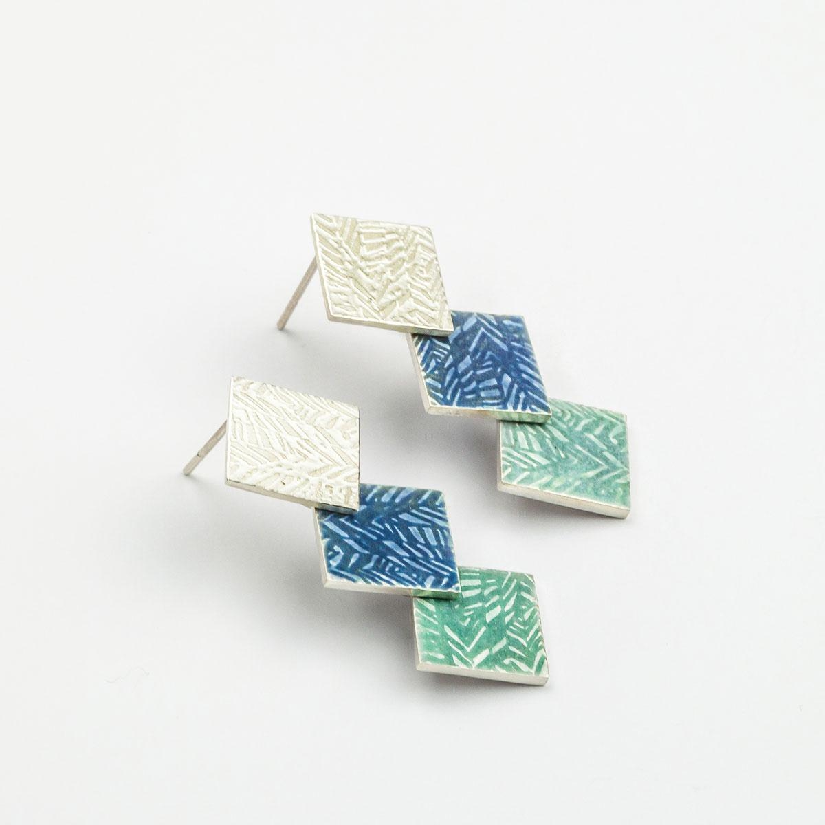 'Weave' Blue-Grey Triple Drop Earrings