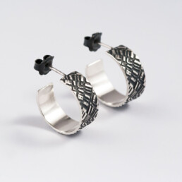 'Weave' Silver and Black Hoop Earrings