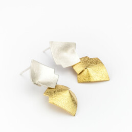 'Weave' Silver and Gold Double Drop Earrings