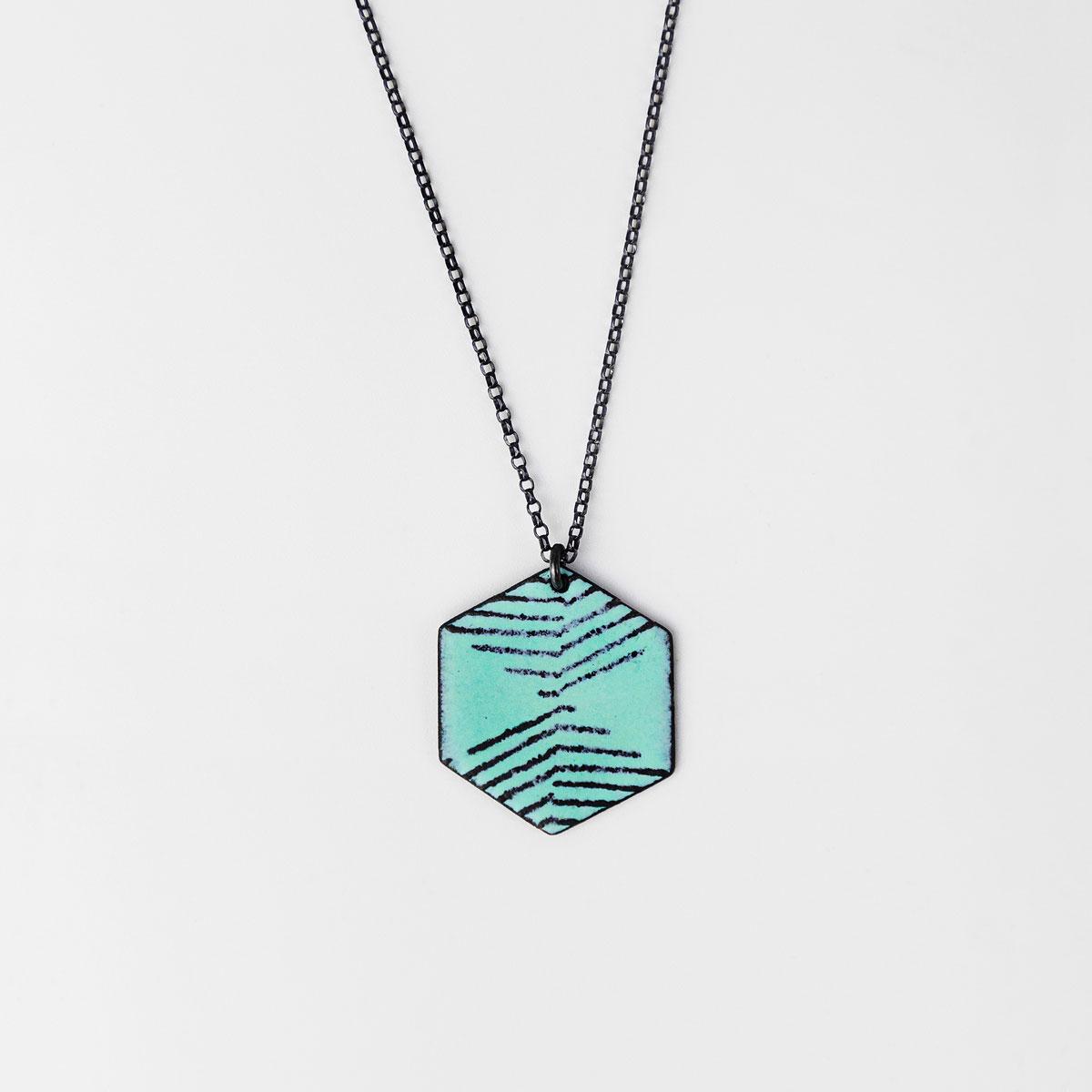 'Weave' Turquoise Hexagonal Pendant