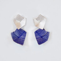 'Lines in Motion' Blue Drop Earrings, Large