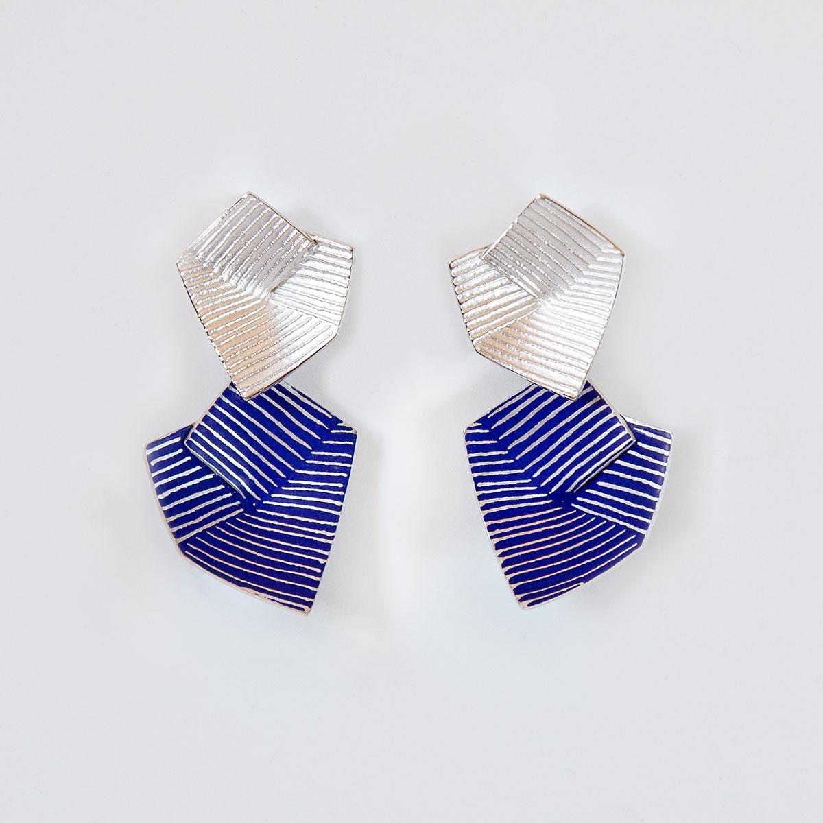 'Lines in Motion' Blue Drop Earrings, Large