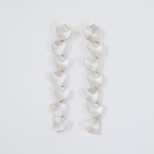 'Lines in Motion' Silver Long Drop Earrings