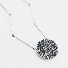 'Weave' Silver and Black Circular Necklace