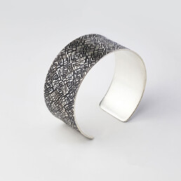 'Weave' Silver and Black Patterned Cuff