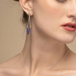 'Weave' Blue Chevron Pendant