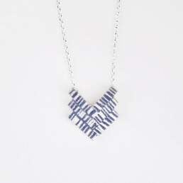'Weave' Blue-Grey Chevron Pendant