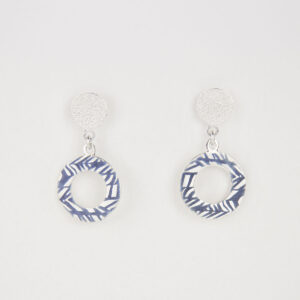 'Weave' Blue-Grey Halo Earrings
