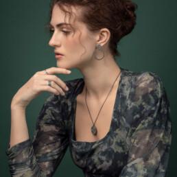 'Weave' Black Loop Earrings Large