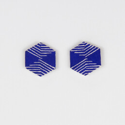 'Weave' Blue Hexagonal Stud Earrings, Medium