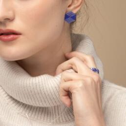 'Weave' Blue Hexagonal Stud Earrings, Medium