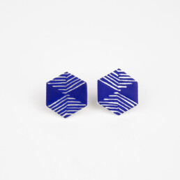 'Weave' Blue Hexagonal Stud Earrings, Small