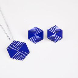 'Weave' Blue Hexagonal Stud Earrings, Small