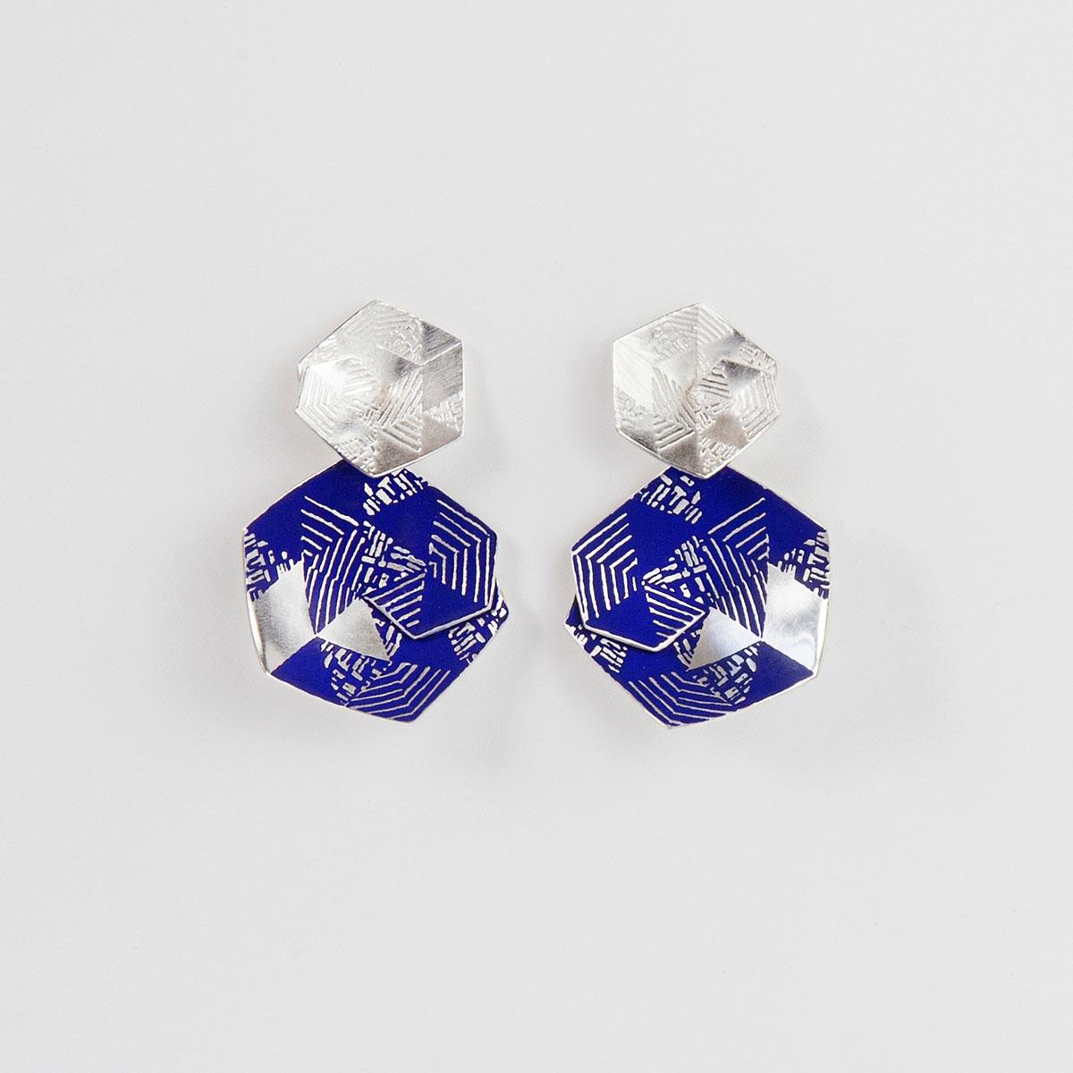 'Weave' Blue Hexagonal Drop Earrings, Large