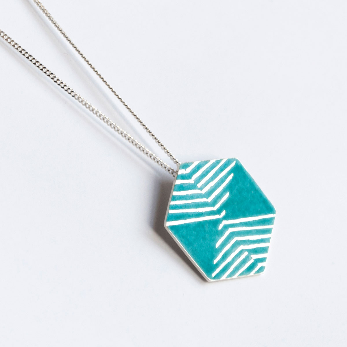 'Weave' Turquoise Hexagonal Pendant, Large