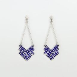 'Weave' Blue Chevron Earrings