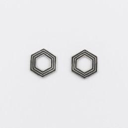 'Lines in Motion' Silver and Black Hexagonal Stud Earrings, Medium