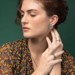 'Lines in Motion' Silver and Black Hexagonal Earrings, Medium