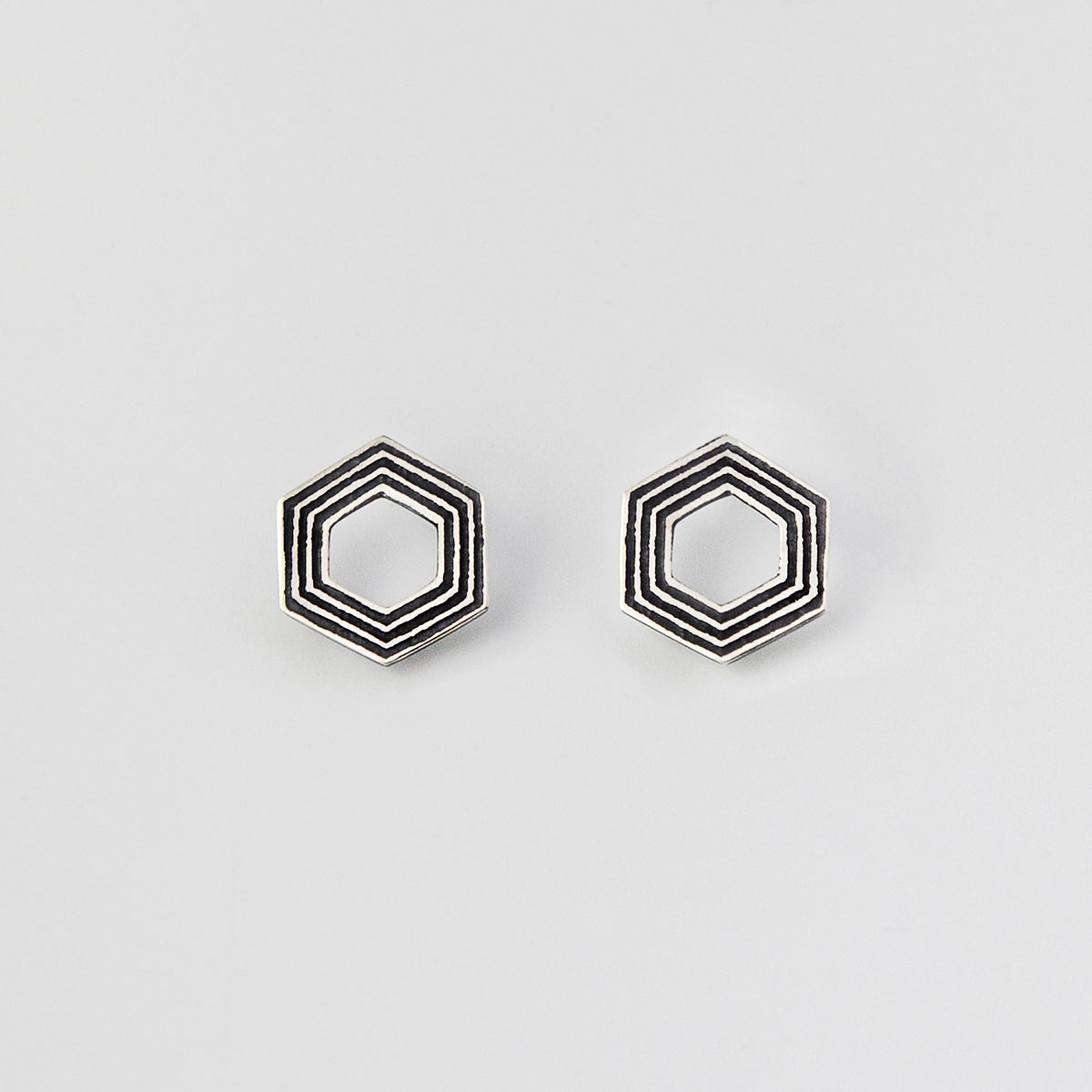 'Lines in Motion' Silver and Black Hexagonal Earrings, Small