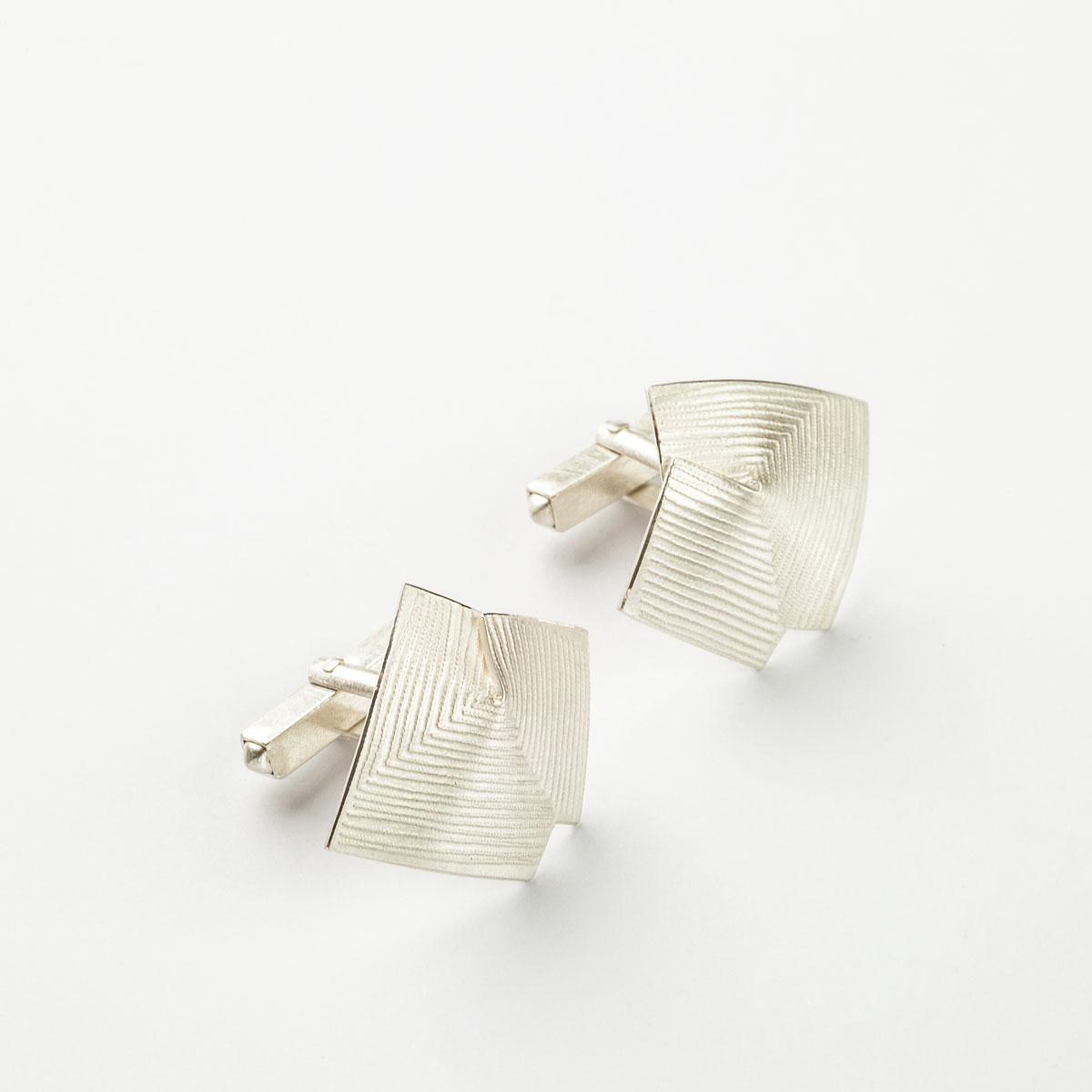 'Lines in Motion' Silver Cufflinks