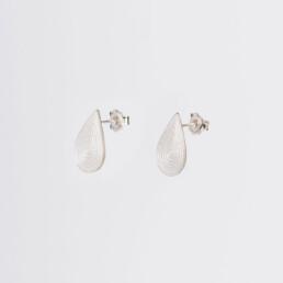 'Lines in Motion' Silver Teardrop Earrings