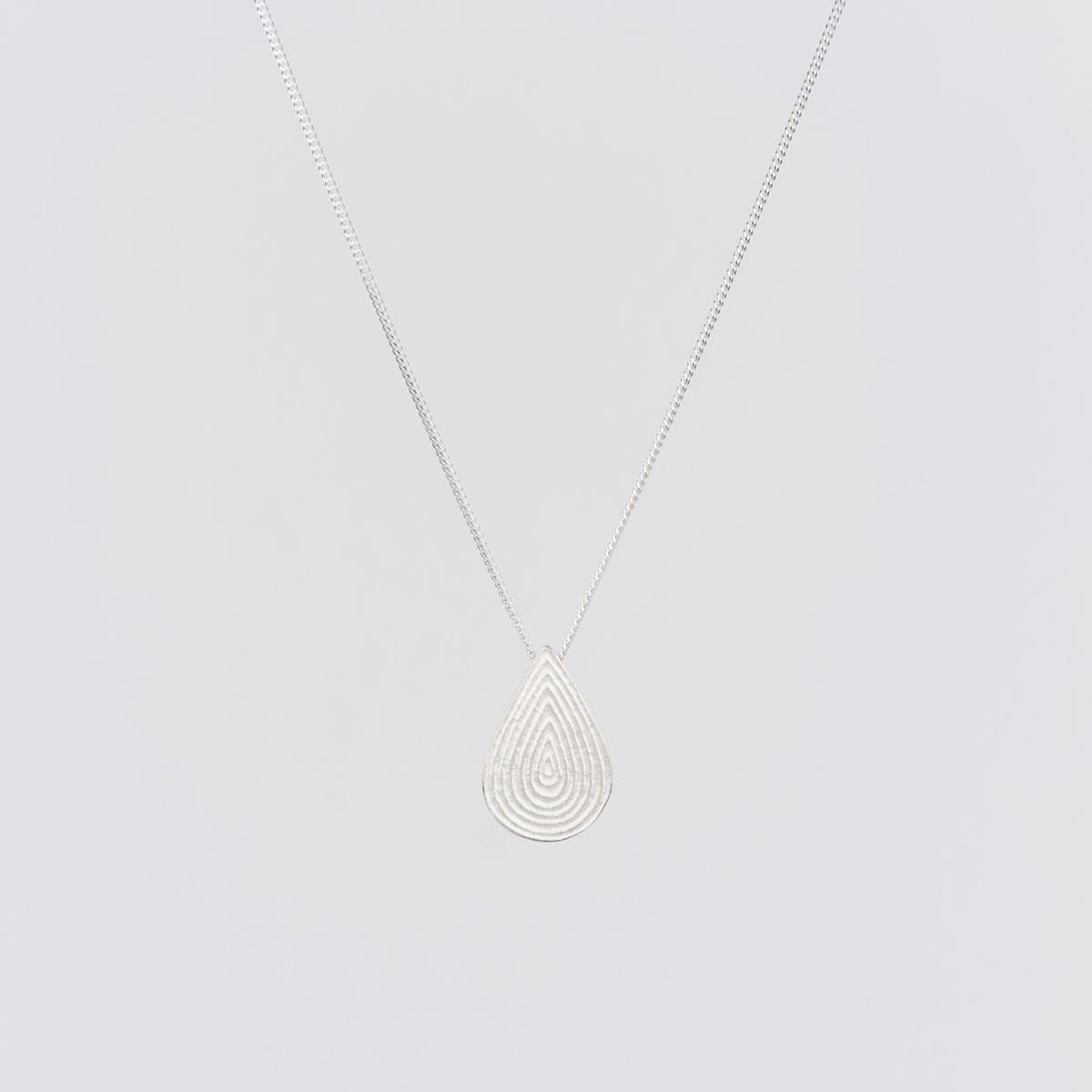 'Lines in Motion' Silver Teardrop Pendant