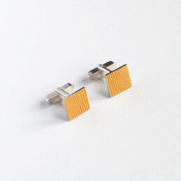 'Lines in Motion' Yellow Square Cufflinks
