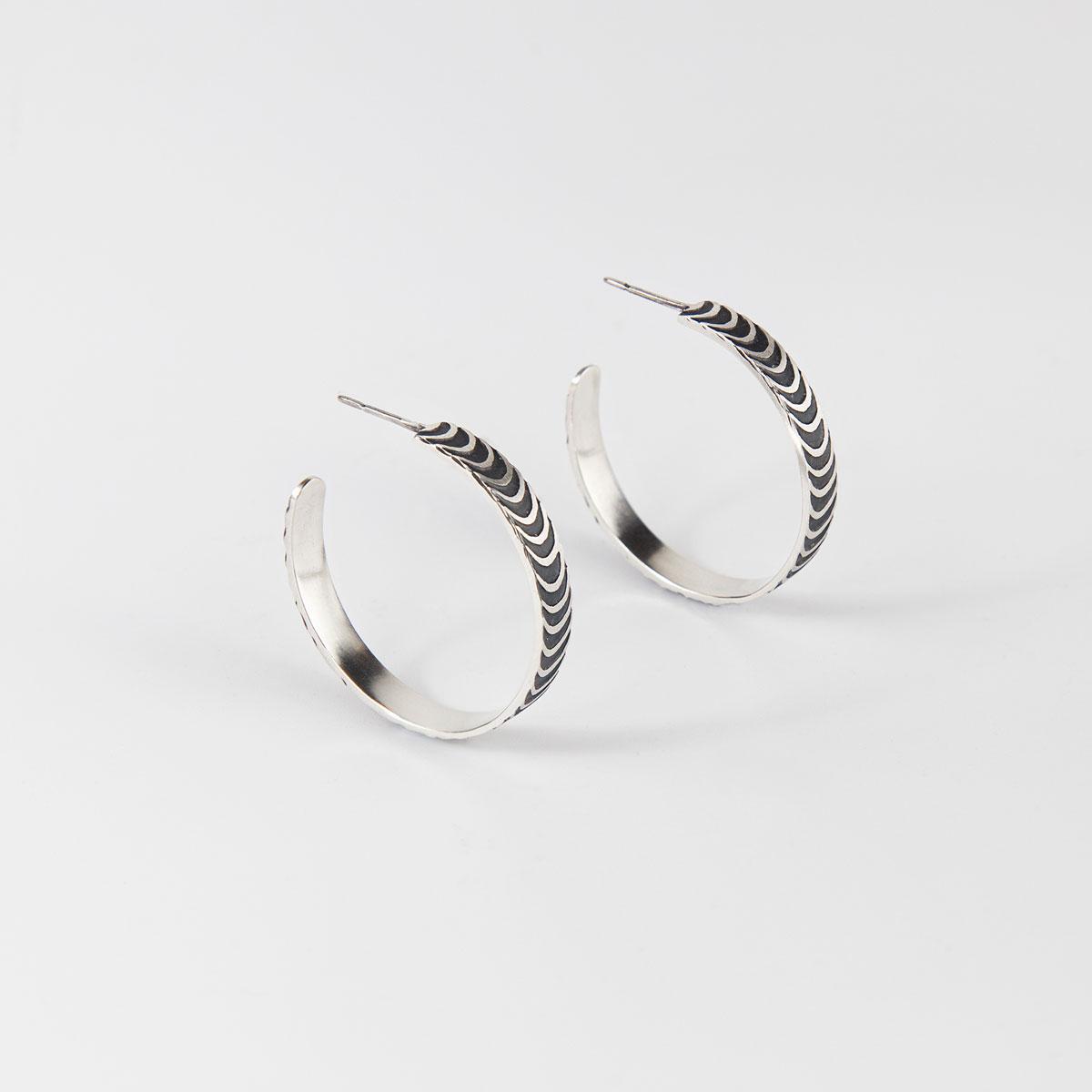 'Finesse' Silver and Black Hoop Earrings, Large