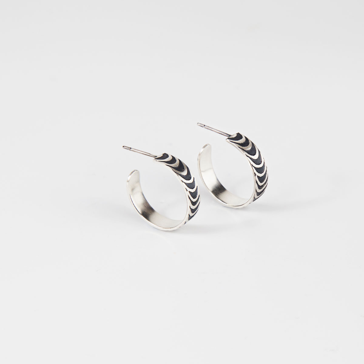 'Finesse' Silver and Black Hoop Earrings, Small