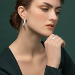 'Finesse' Silver Hoop Earrings, Large